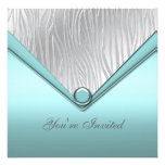 Silver Teal Blue Party Invitation Template