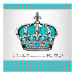 Silver Teal Blue Prince Baby Shower Invitations