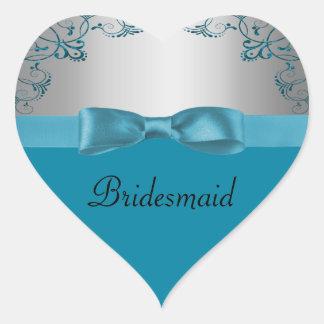 Silver Teal Blue Scrollwork Wedding Heart Sticker