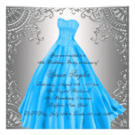 Silver Teal Blue Sweet Sixteen Birthday Party Announcement