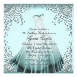 Silver Teal Blue Sweet Sixteen Birthday Party Invitation