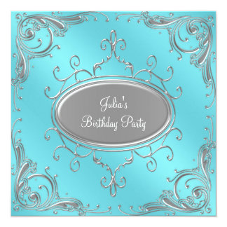Silver Teal Blue Womans Birthday Party Card