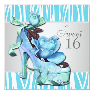 Silver Teal Blue Zebra Sweet 16 Birthday Party Card