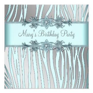 Silver Teal Blue Zebra Womans Birthday Party 13 Cm X 13 Cm Square Invitation Card