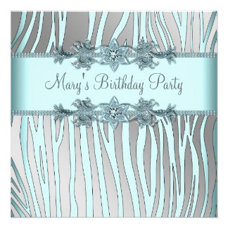 Silver Teal Blue Zebra Womans Birthday Party Custom Announcement