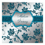 Silver Teal FAUX Glitter Floral Engagement Party Invite