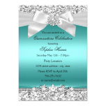 Silver Teal Glitter & Jewel Bow Quinceanera 13 Cm X 18 Cm Invitation Card