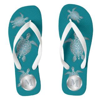 Silver Teal Sea Turtle Flip Flops