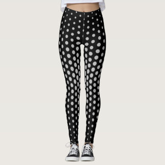 Silver Techno Dot Pattern Leggings