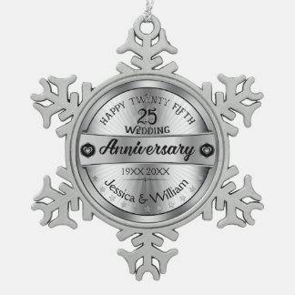 Silver & Text Design 25th Wedding Anniversary Pewter Snowflake Decoration