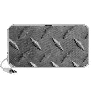 silver textured metal travel speakers