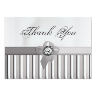 Silver Thank You 13 Cm X 18 Cm Invitation Card