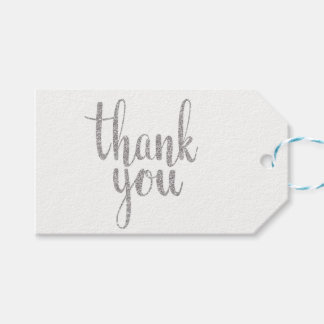 Silver thank you favor tags, glitter, horizontal