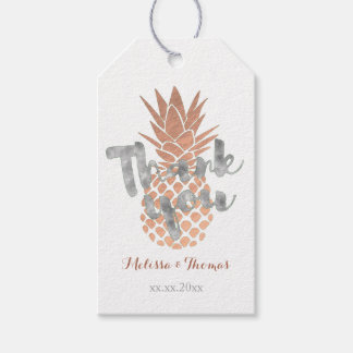 silver thank you script on rose gold pineapple gift tags