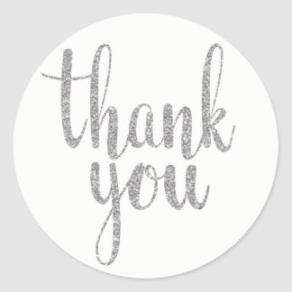 Silver thank you stickers, glitter, round round sticker