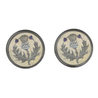 Silver Thistle Cuff links Gunmetal Finish Cufflinks