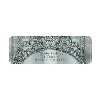 Silver Tiara Crown & Diamond Bling Invitation Return Address Label