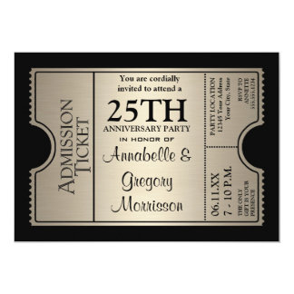Silver Ticket Style 25th Wedding Anniversary Party 13 Cm X 18 Cm Invitation Card