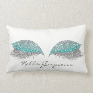 Silver Tiffany Glitter Makeup Lashes Gorgeous Lumbar Cushion