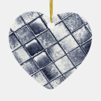 Silver tiles ceramic heart decoration