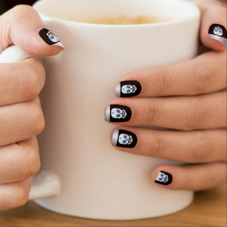 Silver Tip Black Blue Candy Skull Nails Minx Nail Art