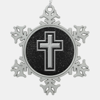 Silver Tone Christian Cross on Black Sparkle Snowflake Pewter Christmas Ornament