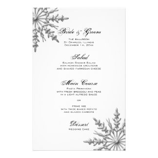 Silver Tone Snowflake Winter Wedding Menu