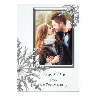 Silver Tone Snowflakes on White Happy Holidays 13 Cm X 18 Cm Invitation Card