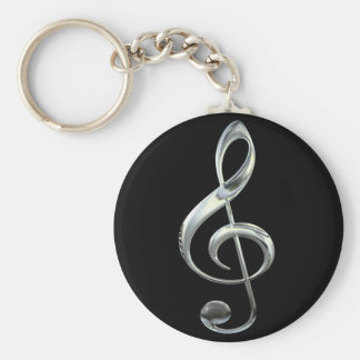 Silver Treble Clef Basic Round Button Key Ring