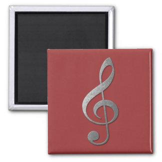 silver treble clef square magnet
