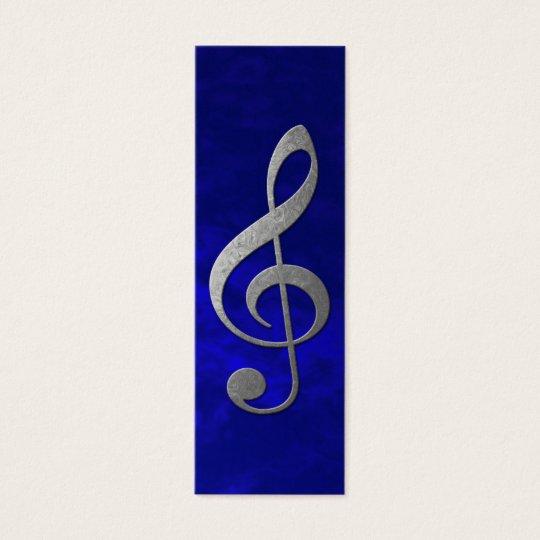 silver treble clef mini business card