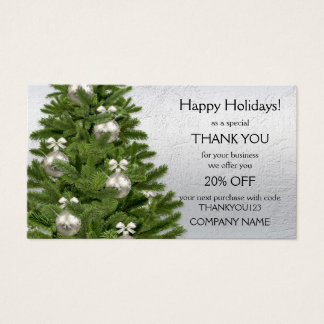 Silver Tree Holidays Thank You Business Card