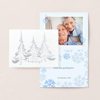 Silver Tree Trio - Happy Holidays, Photo Inside Foil Card
