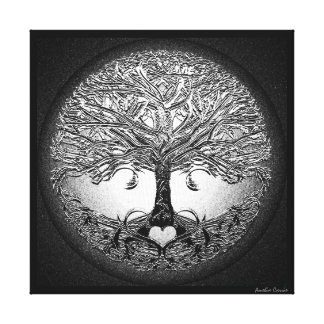 Silver Tree with Heart Canvas Prints