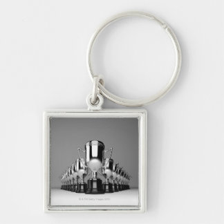 Silver Trophys 2 Silver-Colored Square Key Ring
