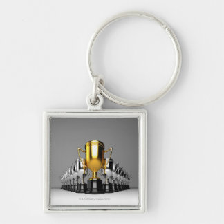 Silver Trophys 3 Silver-Colored Square Key Ring