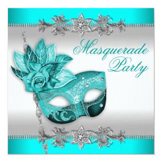 Silver Turquoise Blue Masquerade Party 13 Cm X 13 Cm Square Invitation Card