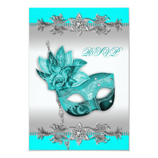 Silver Turquoise Blue Masquerade Party RSVP Personalized Invitation
