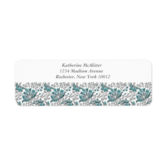 Silver Turquoise Jewel Lace Teal Blue Address Labe Return Address Label