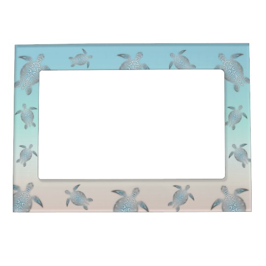 Silver Turquoise Sea Turtles Pattern Magnetic Frame
