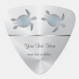 Silver Turtles Blue Gradient Monogram Plectrum