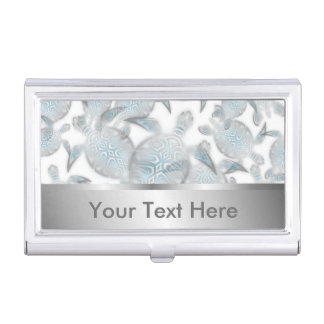 Silver Turtles  Pattern Business Card Holder