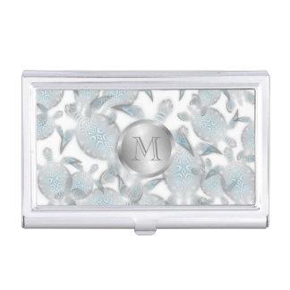 Silver Turtles  Pattern Monogram Business Card Holder