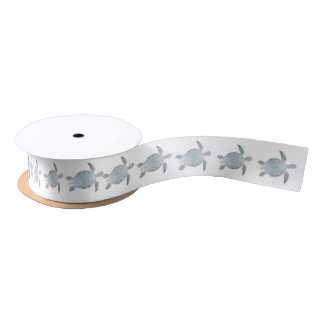 Silver Turtles White Satin Ribbon
