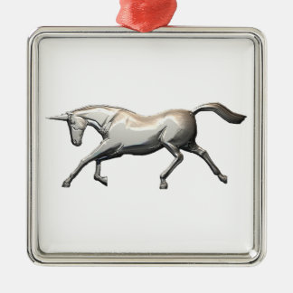 Silver Unicorn Christmas Ornament