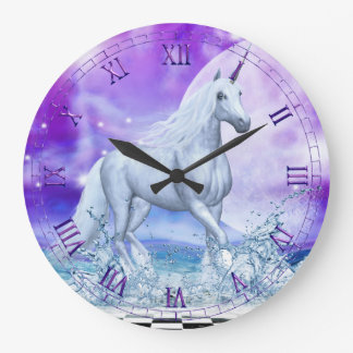 Silver Unicorn Dancing in Water Wall Clock