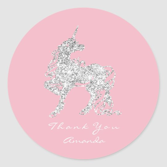 Silver Unicorn Horse Stars Thank You White Pink Classic Round Sticker