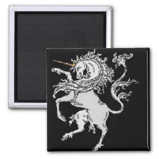 Silver Unicorn Square Magnet