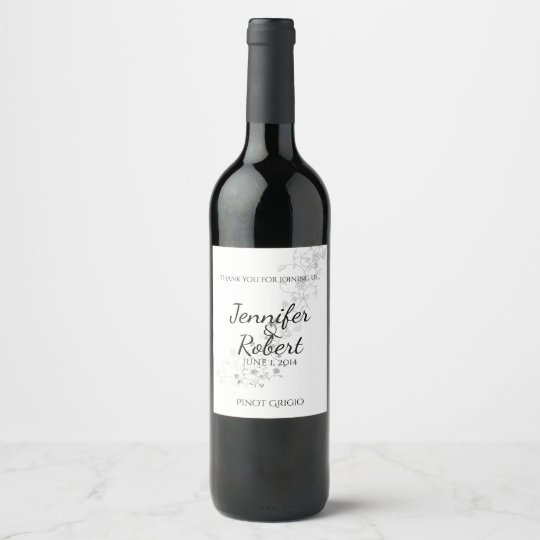 Silver Vines Wedding Wine Label