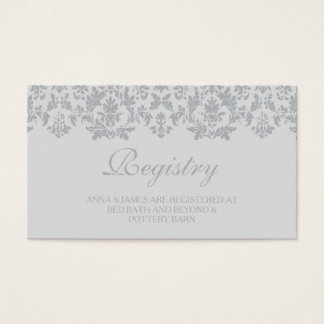 Silver Vintage Damask Wedding Registry Card